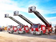 вальс лестниц, вальс пожарных автолестниц в Москве на международном Салоне сегодня в июне 2021